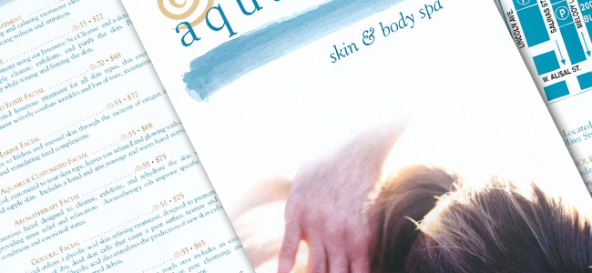 Brochure and service list for Aquablue Skin & Body Spa